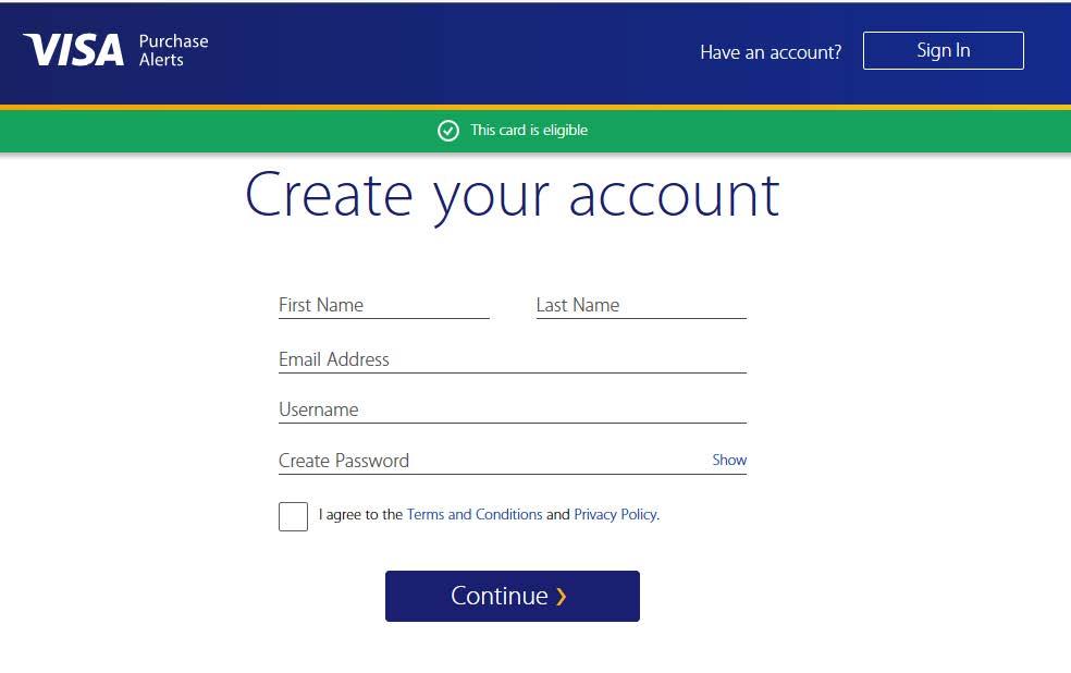 Step 2 Visa Purchase Alerts Enrollment