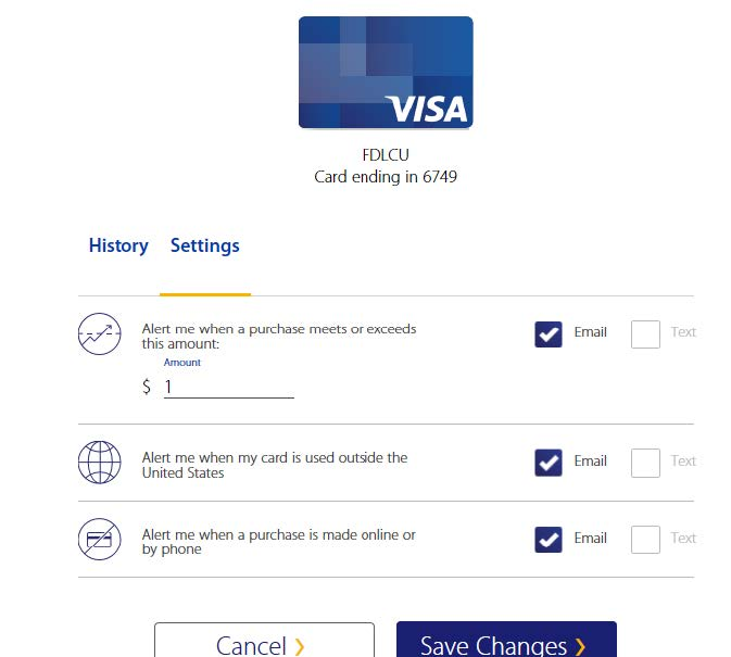 Step 5 Visa Purchase Alerts Enrollment