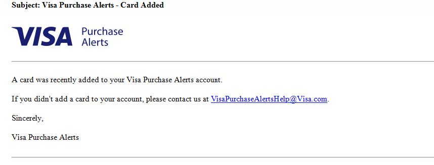 Step 6 Visa Purchase Alerts Enrollment