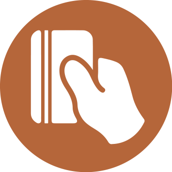 icon of debit card being used
